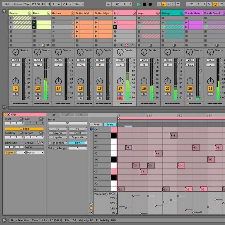 vue de l'écran du logiciel ableton live